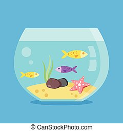 Aquarium with fish. Round fish tank