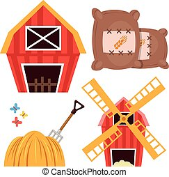 Farm set. Barn, windmill, haystack - Farm set. Barn, brown...