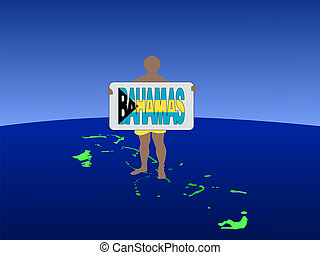 man on Bahamas with sign