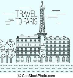 Paris Travel - Paris cityscape with Seine River, EIffel...