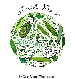Peas Health Benefits 01 A - Beautiful handdrawn pattern in...