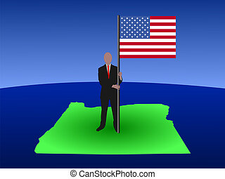 man on map of Oregon with flag