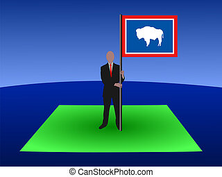man on map of Wyoming flag