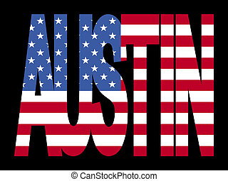 Austin text with flag - Austin text with American flag...