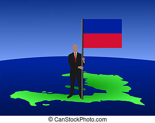 man on map of Haiti with flag