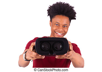 African American young man giving a vr virtual reality...