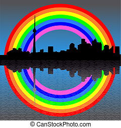 Toronto with rainbow - Toronto skyline with colourful...