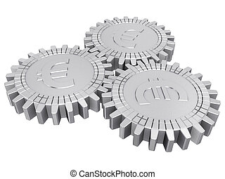 Silver euro money gears isolated