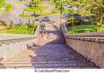 Stair leading to ground level from view point, Phuket, Thailand