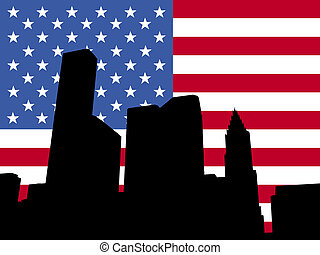 Houston with American flag