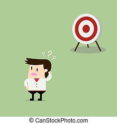 Businessman confused goals Vector flat design illustration