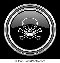 skull silver chrome metallic round web icon on black...