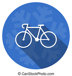bicycle blue flat design christmas winter web icon with...