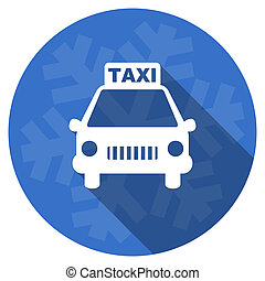 taxi blue flat design christmas winter web icon with snowflake