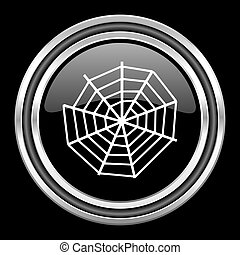 spider web silver chrome metallic round web icon on black background