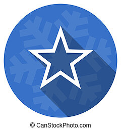 star blue flat design christmas winter web icon with...