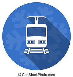train blue flat design christmas winter web icon with...