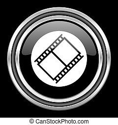 film silver chrome metallic round web icon on black...