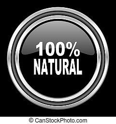 natural silver chrome metallic round web icon on black...