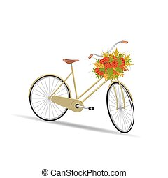 Yellow bicycle with a basket full of leaves