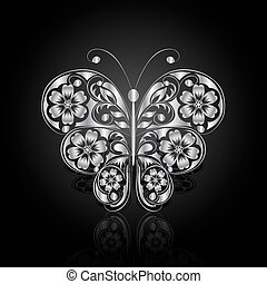 Silver butterfly with floral pattern.