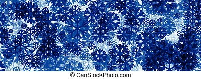 Winter banner with blue snowflakes. Vector illustration.