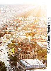 Berlin center and the Cathedral - View from TV tower at the...