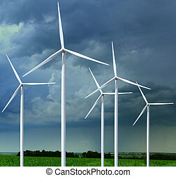 meadow with wind turbines - Beautiful green meadow with Wind...