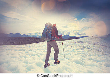 Kennicott glacier - Hiker on Kennicott glacier, Wrangell-St....