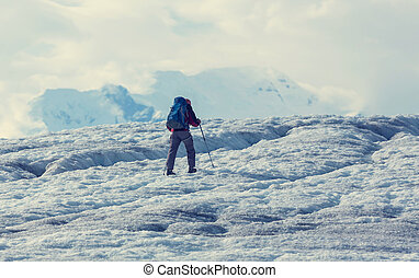 Kennicott glacier - Hiker on Kennicott glacier, Wrangell-St...