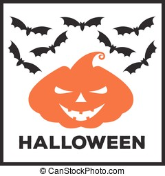 Vector emblem or poster for a holiday Halloween. Orange...