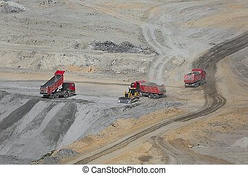 Coal Mine Area - Open pit mining of coal wit waste pile