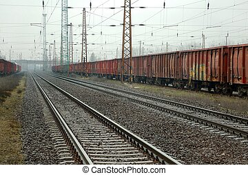 Railway Tracks and Wagons - Many rfright wagons in the mist