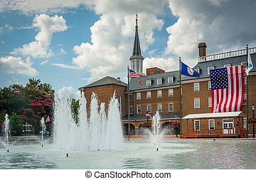 Fountains at Market Square, and City Hall, in Alexandria, Virginia.