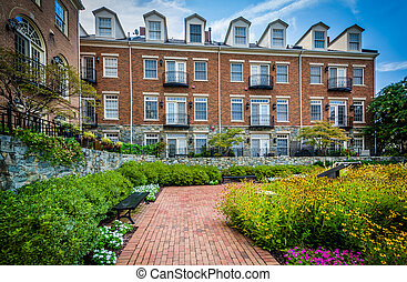 Garden and apartment buildings in Alexandria, Virginia.