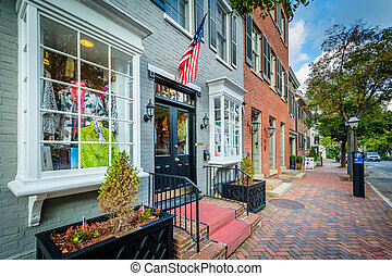 Shops in the Old Town of Alexandria, Virginia.
