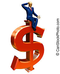 businessman on red dollar sign
