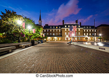 Market Square and City Hall at night, in Old Town, Alexandria, Virginia.