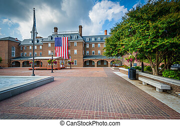 City Hall and Market Square, in the Old Town, of Alexandria, Virginia.
