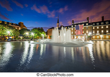 Fountains and City Hall at night, at Market Square, in Old Town, Alexandria, Virginia.