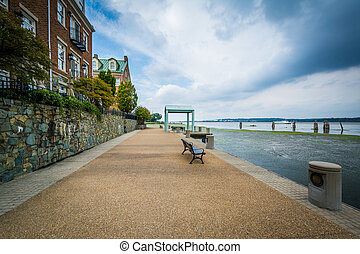 Walkway and apartment buildings along the Potomac River...