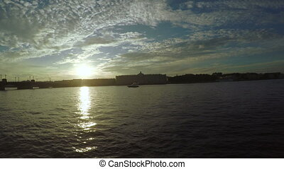 Sunset on the Neva River - RUSSIA, SAINT PETERSBURG, JULY,...