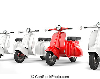 Red scooter stands out