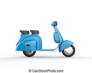 Blue scooter - side view