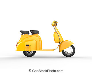 Yellow scooter - side view