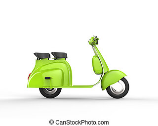 Green scooter - side view