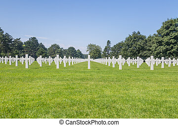 White crosses on american cemetery in Normandie, France -...