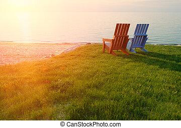 Sunset at Lake Huron at Port Austin, MI, USA