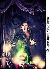 fantasy glam witch - Attractive witch conjures in the...