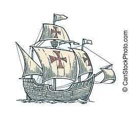 Sailing ship floating on the sea waves. Caravel Santa Maria....